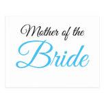 Madre del azul de la escritura de la novia tarjetas postales