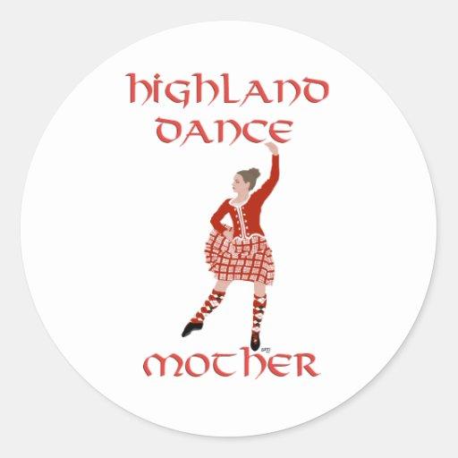 Madre del bailarín de la montaña - rojo pegatina redonda