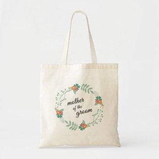 Madre del boda floral de la guirnalda del novio bolsa tela barata