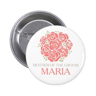 Madre del botón coralino del perno del boda del pin redondo de 2 pulgadas