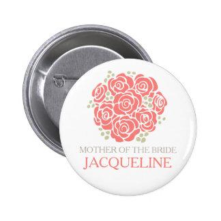 Madre del botón coralino del perno del boda del ra