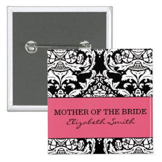 Madre del botón de la novia pin cuadrado