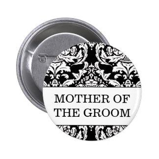Madre del botón del novio pin redondo de 2 pulgadas