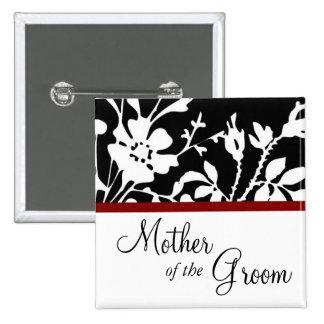 Madre del botón floral blanco y negro del novio pins
