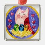 Madre del búho de tríos ornamento para arbol de navidad