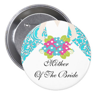 Madre del damasco de la turquesa del botón/Pin de  Pin Redondo De 3 Pulgadas