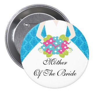 Madre del damasco del azul del botón/Pin de la nov Pin Redondo De 3 Pulgadas