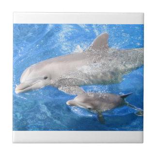 Madre del delfín y baldosa cerámica del bebé azulejo cuadrado pequeño