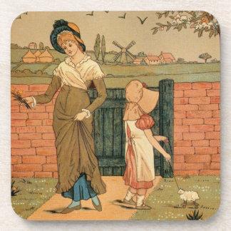 Madre del dibujo de Kate Greenaway, del Victorian Posavasos