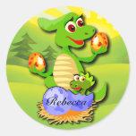 Madre del dinosaurio y dibujo animado etiqueta redonda