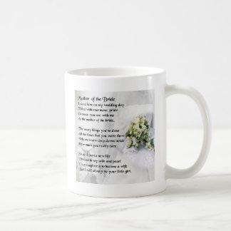 Madre del diseño del ramo   del boda del poema de taza básica blanca