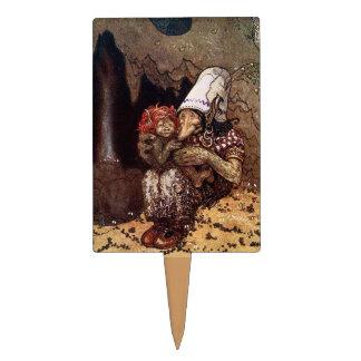 Madre del duende al lado de una hoguera decoración para tarta