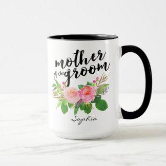 Madre del floral de la acuarela del novio taza