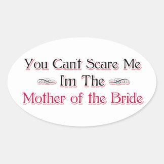 Madre del humor de la novia pegatina ovalada