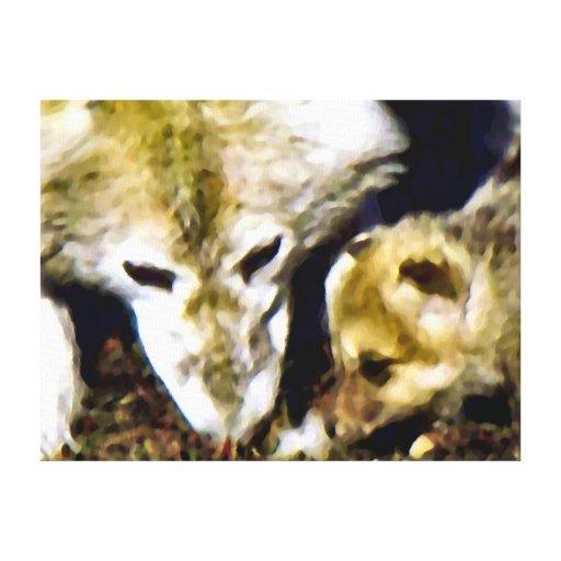 Madre del lobo y aceite de bebé lona envuelta para galerias