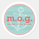 Madre del marinero del novio etiqueta redonda