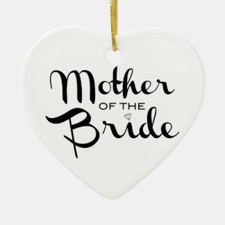 Madre del negro retro de la escritura de la novia adorno navideño de cerámica en forma de corazón