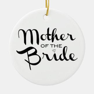 Madre del negro retro de la escritura de la novia adorno navideño redondo de cerámica