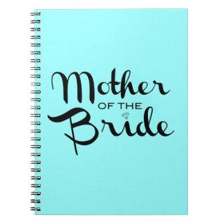 Madre del negro retro de la escritura de la novia libros de apuntes con espiral