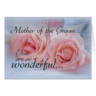 Madre del novio gracias rosas rosados felicitacion