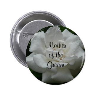 Madre del novio, rosa blanco pin redondo de 2 pulgadas