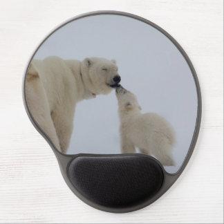 Madre del oso polar con el cachorro alfombrillas con gel