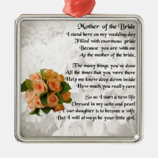 Madre del poema de la novia - rosas del melocotón adorno navideño cuadrado de metal