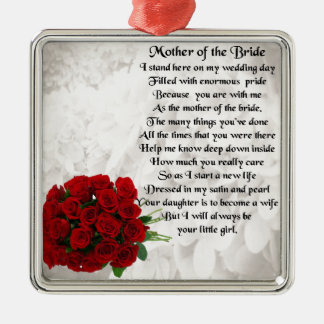 Madre del poema de la novia - rosas rojos adorno cuadrado plateado