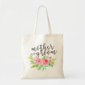 Madre del ramo floral de la acuarela del novio bolsa tela barata