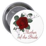 Madre del rosa rojo del KRW de la novia que casa Pin Redondo De 3 Pulgadas