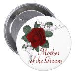 Madre del rosa rojo del KRW del novio que casa el Pin Redondo De 3 Pulgadas