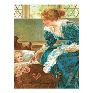 Madre del Victorian que tiende a su bebé en una Membrete