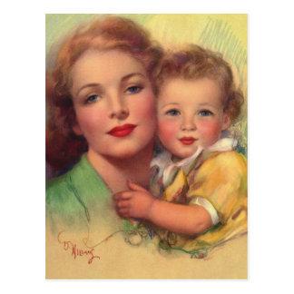 Madre del vintage y retrato de la familia del niño postales