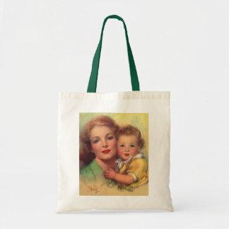 Madre del vintage y retrato del niño bolsa
