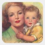 Madre del vintage y retrato del niño pegatina cuadrada