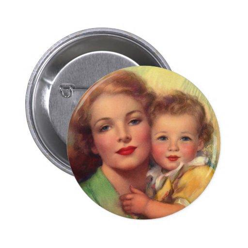 Madre del vintage y retrato del niño chapa redonda 5 cm