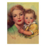 Madre del vintage y retrato del niño póster