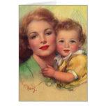 Madre del vintage y retrato del niño tarjeta de felicitación