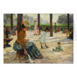 Madre del vintage y sus niños en el parque felicitación