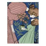 Madre e hija - arte Nouveau Postal
