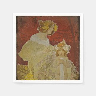 Madre e hija con las flores servilletas de papel