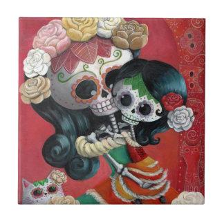 Madre e hija de Dia de Los Muertos Skeletons Azulejo Cuadrado Pequeño