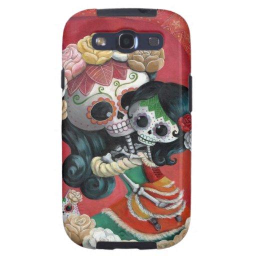 Madre e hija de Dia de Los Muertos Skeletons Samsung Galaxy SIII Funda