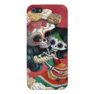 Madre e hija de Dia de Los Muertos Skeletons iPhone 5 Protector