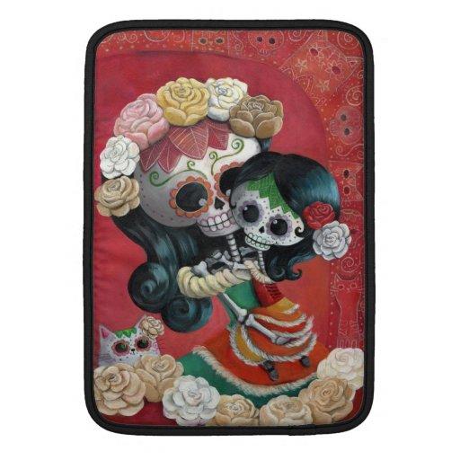 Madre e hija de Dia de Los Muertos Skeletons Funda Macbook Air