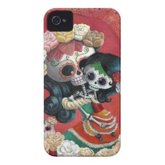 Madre e hija de Dia de Los Muertos Skeletons iPhone 4 Case-Mate Cárcasa