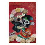 Madre e hija de Dia de Los Muertos Skeletons Impresiones