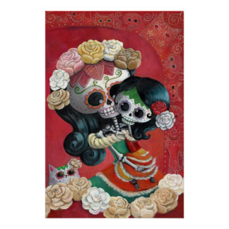 Madre e hija de Dia de Los Muertos Skeletons Póster