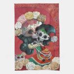 Madre e hija de Dia de Los Muertos Skeletons Toalla De Cocina