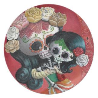 Madre e hija de Dia de Los Muertos Skeletons Plato De Cena